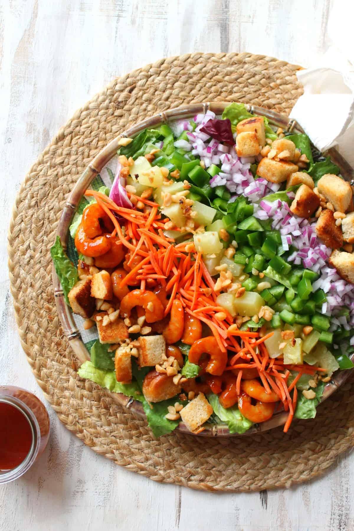 Hawaiian-Inspired BBQ Shrimp Rainbow Cobb Salad! A Polynesian twist on a the Cobb salad, this version will fill you with the Aloha Spirit!