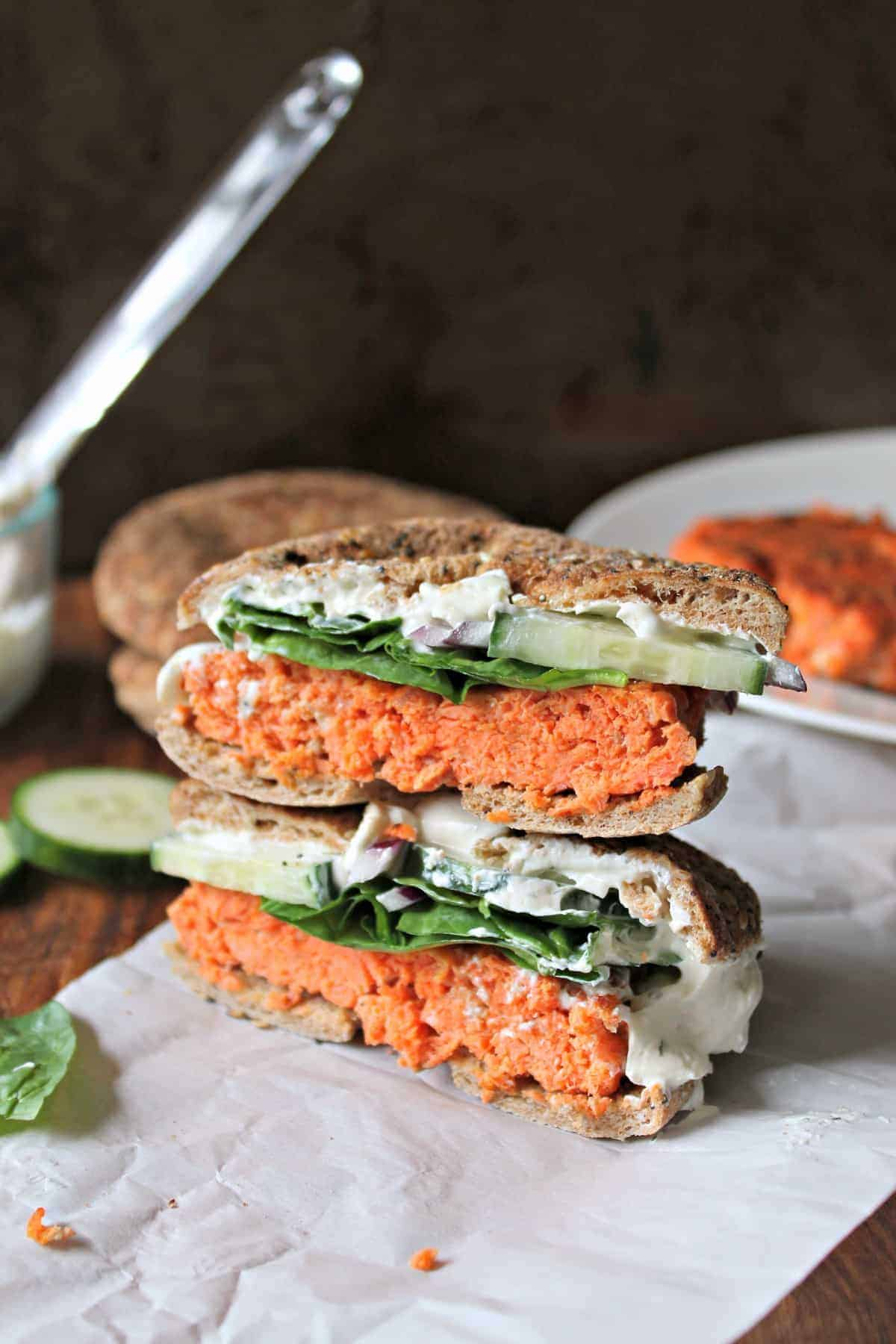 """Smoky Salmon Bagel Burger with Garlic-Dill Schmear! Love bagels and lox? You'll go """"wild"""" over these simply gratifying salmon burgers made with wild-caught Alaska salmon. They're a quick, versatile bite that works for brunch, lunch or dinner!"""