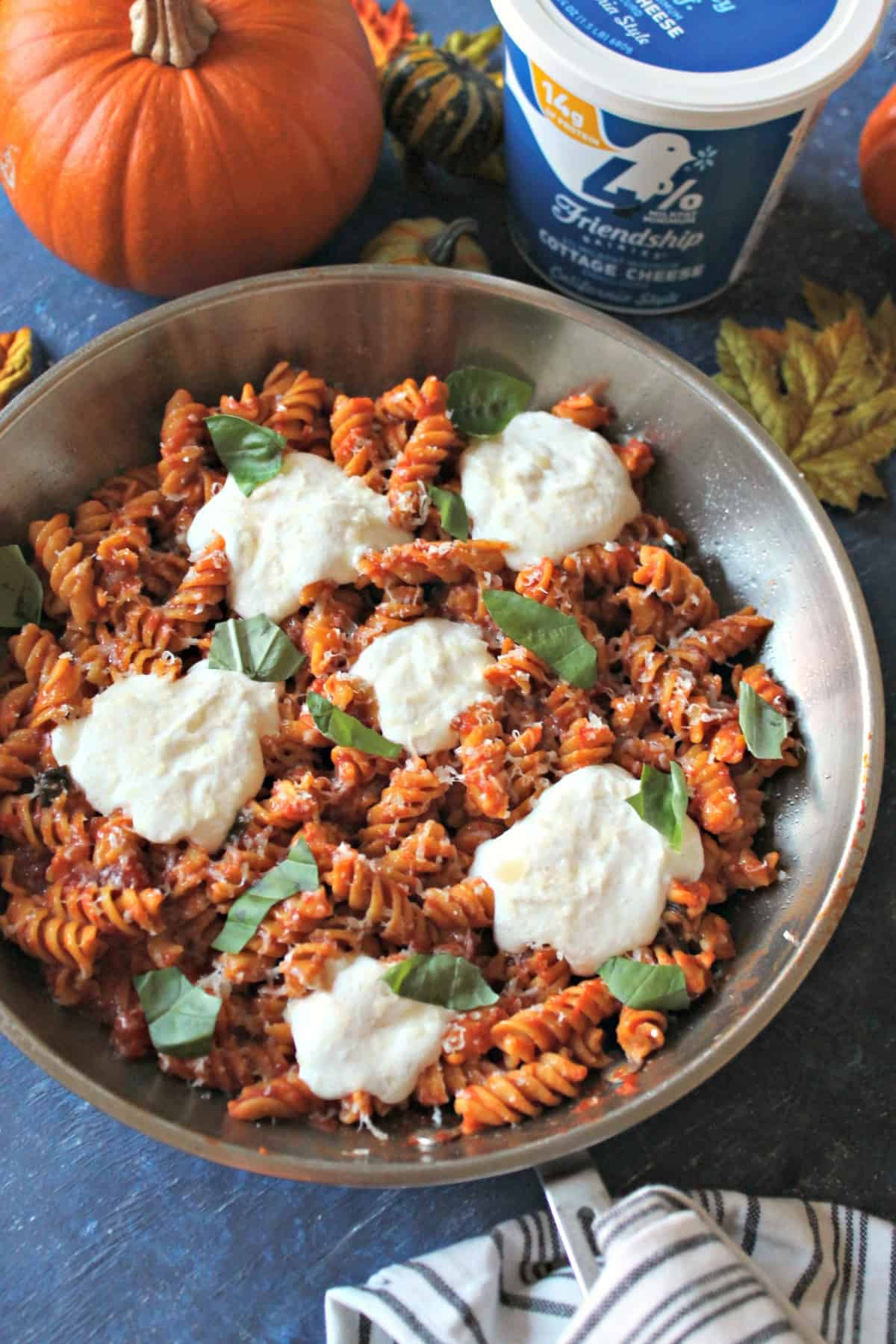 "Easy Pumpkin Marinara Pasta with Whipped Cottage Cheese ""Ricotta"" -- a fall twist on a quick dinnertime classic that will become a family favorite!"