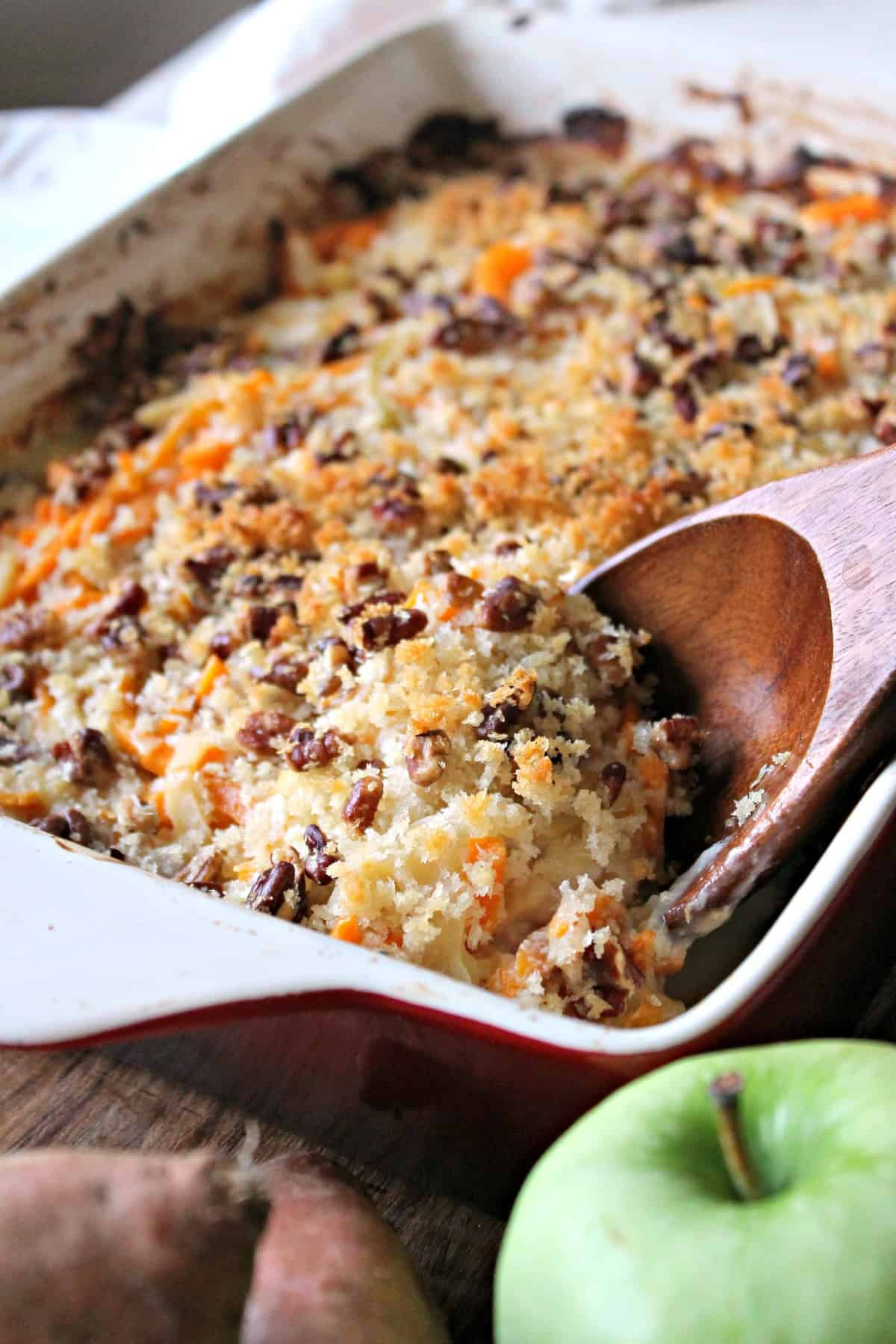 Spiralized Sweet Potato, Apple & Gouda Gratin! A new, delicious way to serve up sweet potatoes at your holiday table. Savory, sweet, creamy & crunchy!