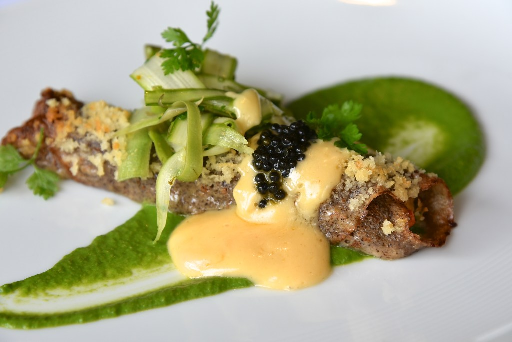 Locally grown asparagus on lobster crepes with local caviar