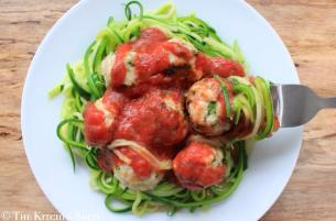 Clean Eating Quinoa Turkey Meatballs on Courgette Spaghetti
