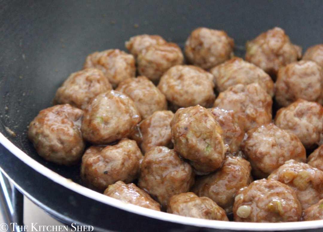 Clean Eating Cinnamon Pear Glazed Meatballs