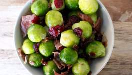 Clean Eating Brussels Sprouts with Prosciutto & Cranberries