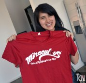 Krystal's assitant and her new Miraculous shirt