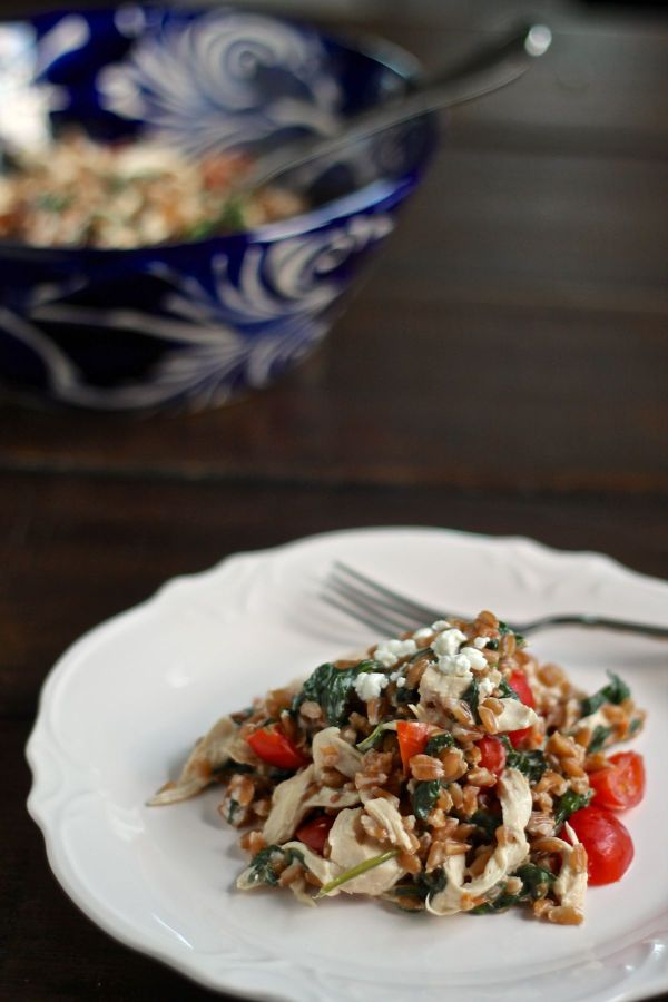Farro Salad with Goat Cheese, Chicken, and Spinach