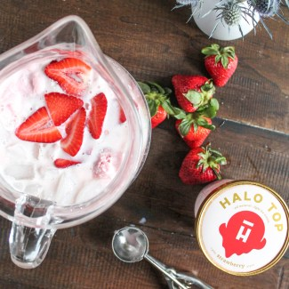 Strawberry White Wine Cocktail with Halo Top Ice Cream