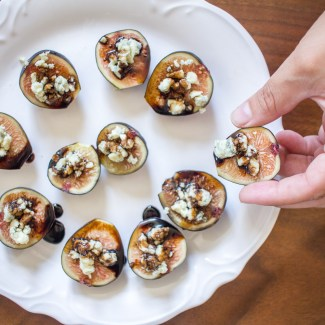 Figs with Blue Cheese and Balsamic Reduction