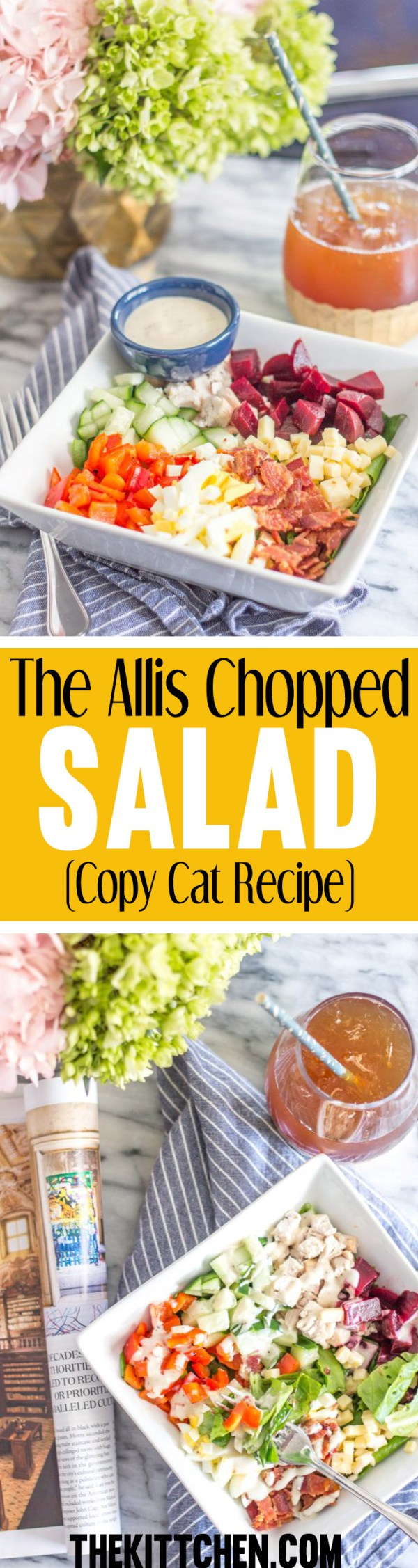 The Allis Chopped Salad is my all-time favorite salad. And since I can't have lunch at The Allis everyday, I recreated the recipe so that Icould make it at home. This salad has the perfect combination of freshly chopped vegetables and protein.