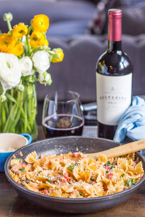 Sweet and Spicy Sausage and Farfalle is a recipe that I grew up eating, and fell in love with again as an adult. It is one of the easiest recipes you can ask for, and the speedy preparation time makes it a perfect weeknight dinner option.
