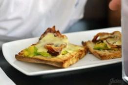 Bacon, cheese, avocado toast