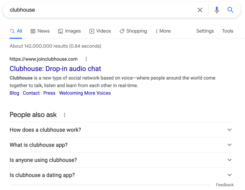 Clubhouse Google Search Results
