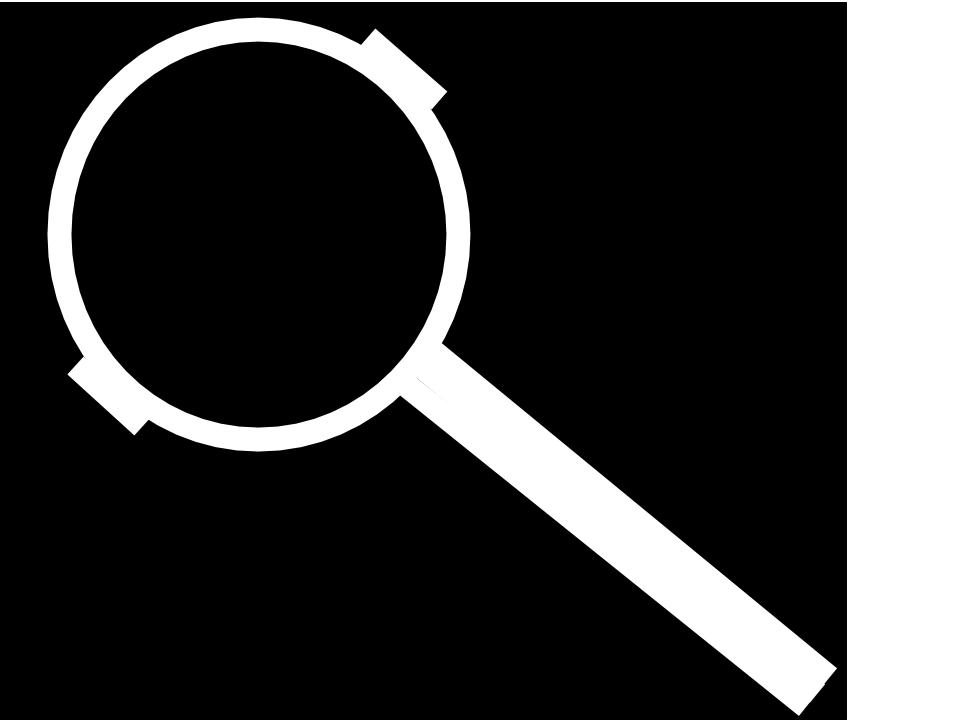 A black background with a white line picture of a portafliter, which looks like a magnifying glass.