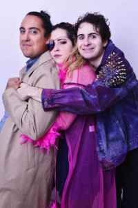 Tai Leclaire, Sarah Lazarus, and Andy Vega in character in a promotional still for A Sip With Vodka