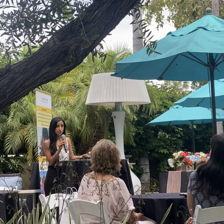 Sherry Advani, speaking at A Day of Inspiration Event in Newport Beach, California.
