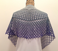 Dragonfruit Shawl in a gradient yarn by ppremdas on Ravelry