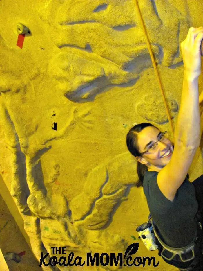 Happy rock climber