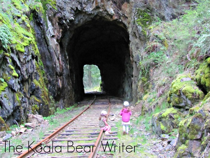 two girls looking at the Goldstream train tunnel