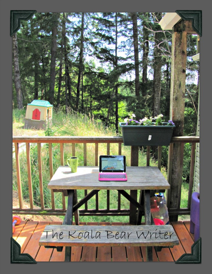 My Outdoor Office (netbook on a picnic table on a deck, overlooking a kids' playhouse)