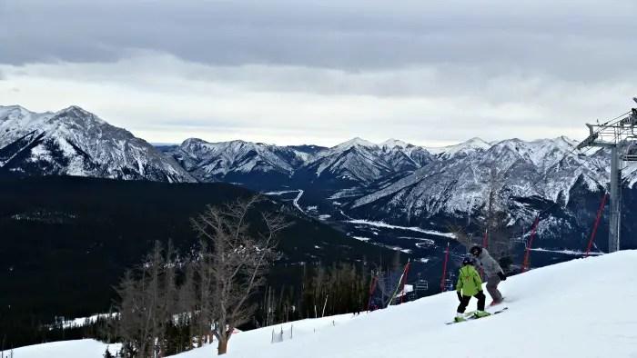 The top of the mountain at Nakiska Ski Resort, where we went downhill skiing after Christmas