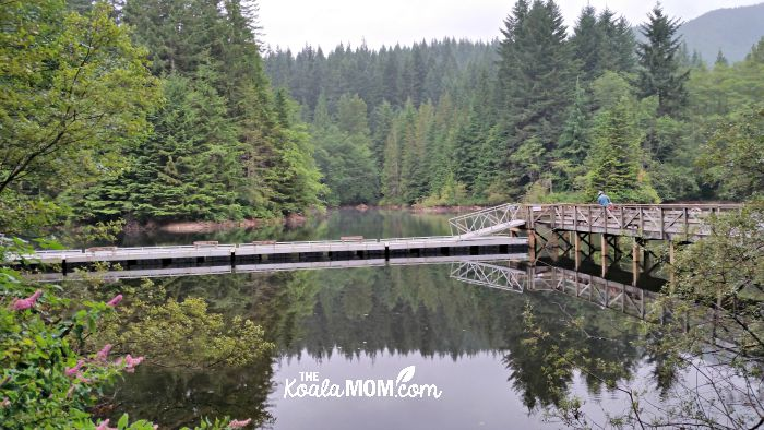 Bridge over Rice Lake, one of our favourite family-friend hikes around Greater Vancouver