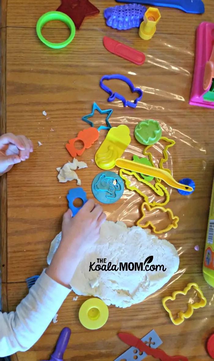 Cutting salt dough shapes