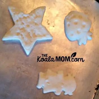 Salt dough shapes ready for baking