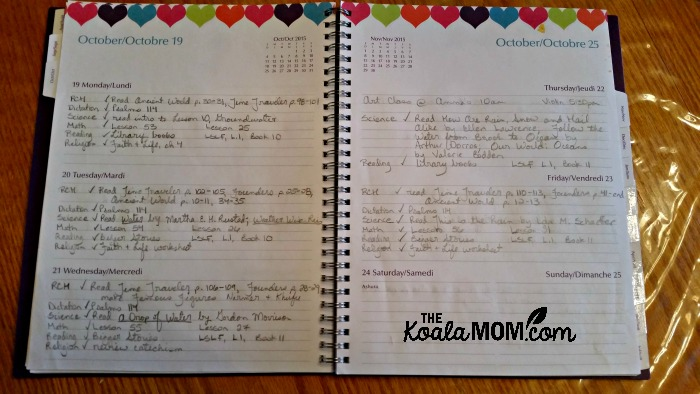 Organizing your homeschool with a planner: a sample page from my planner (a day in the life of a homeschool mom)