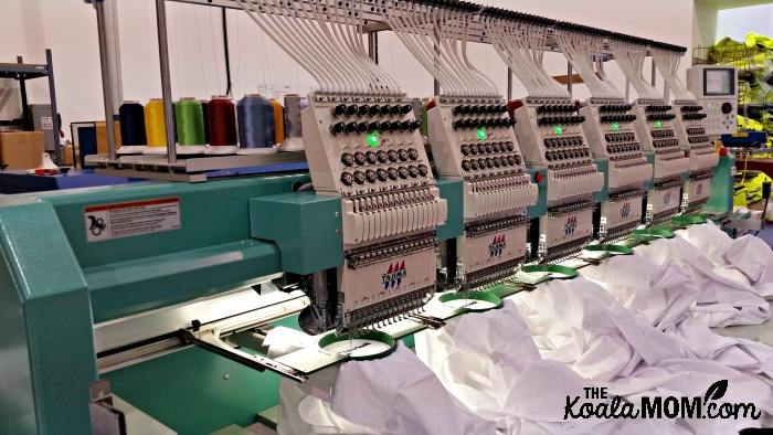 The logo embroidery machine at Bravo Apparel in Surrey, BC