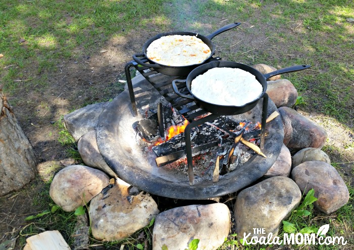 Bannock baking over the fire