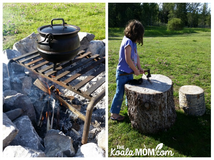 Boiling coffee over a fire, while a girl chops wood for the fire