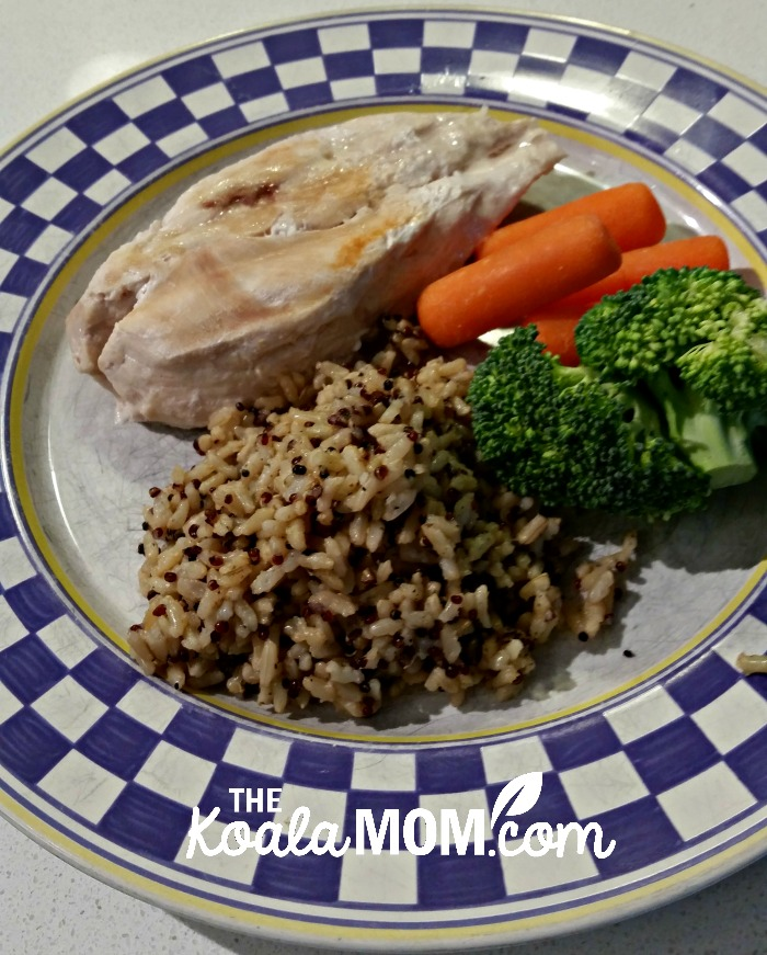 Seeds of Change dinner with grilled chicken and fresh veggies