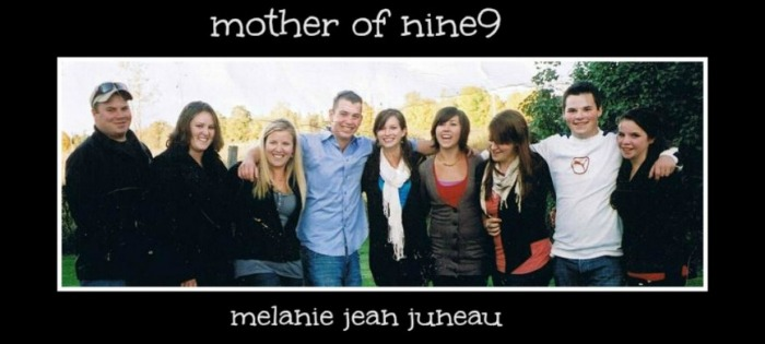 Melanie Jean Juneau with her 9 children