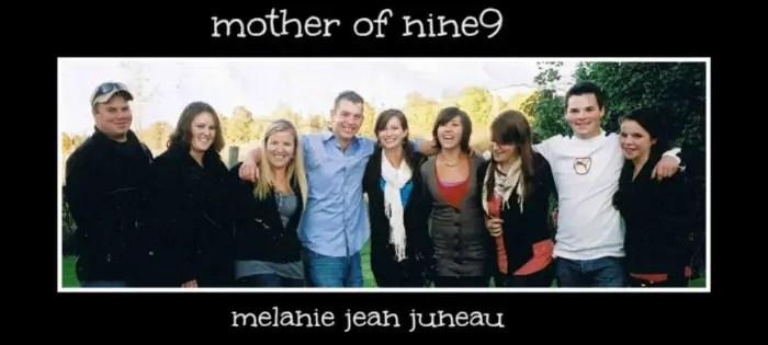 Melanie Jean Juneau with her 9 children