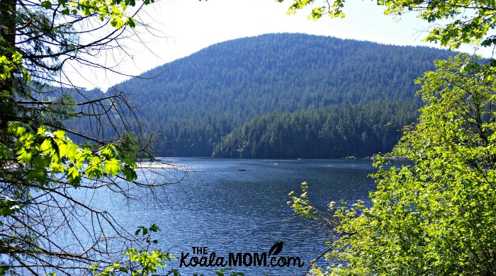 Boats on Buntzen Lake, one of our favourite family-friend hikes around Greater Vancouver