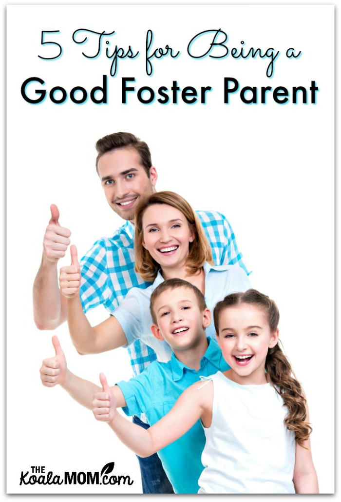 5 Tips for Being a Good Foster Parent (two parents and two kids with thumbs up)