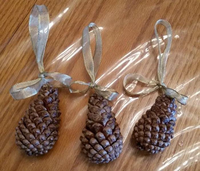 Scented pine cone ornaments