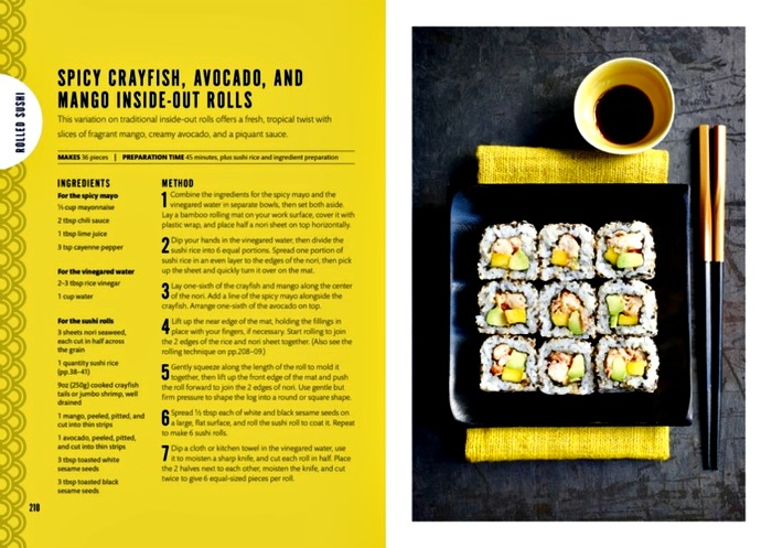 Spicy Crayfish, Avocado and Mango Inside-Out Rolls in Sushi: Taste and Technique from DK Books