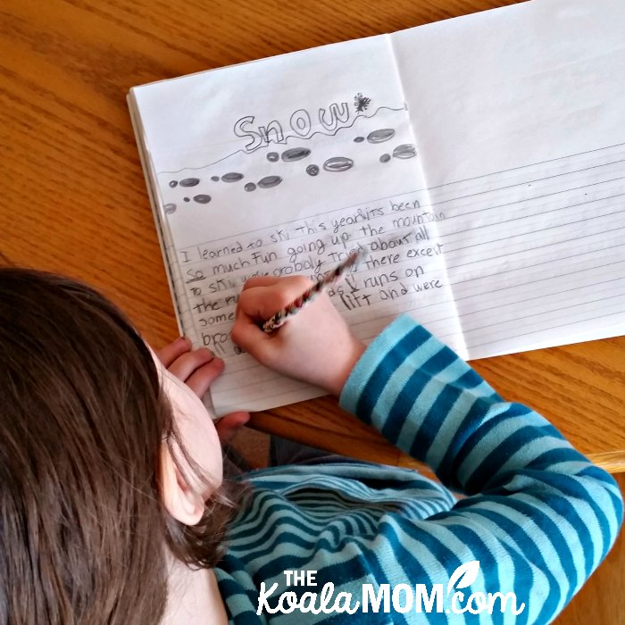 Lily writes an essay on snow for the Intricacies of Snow unit study from Creation Illustrated