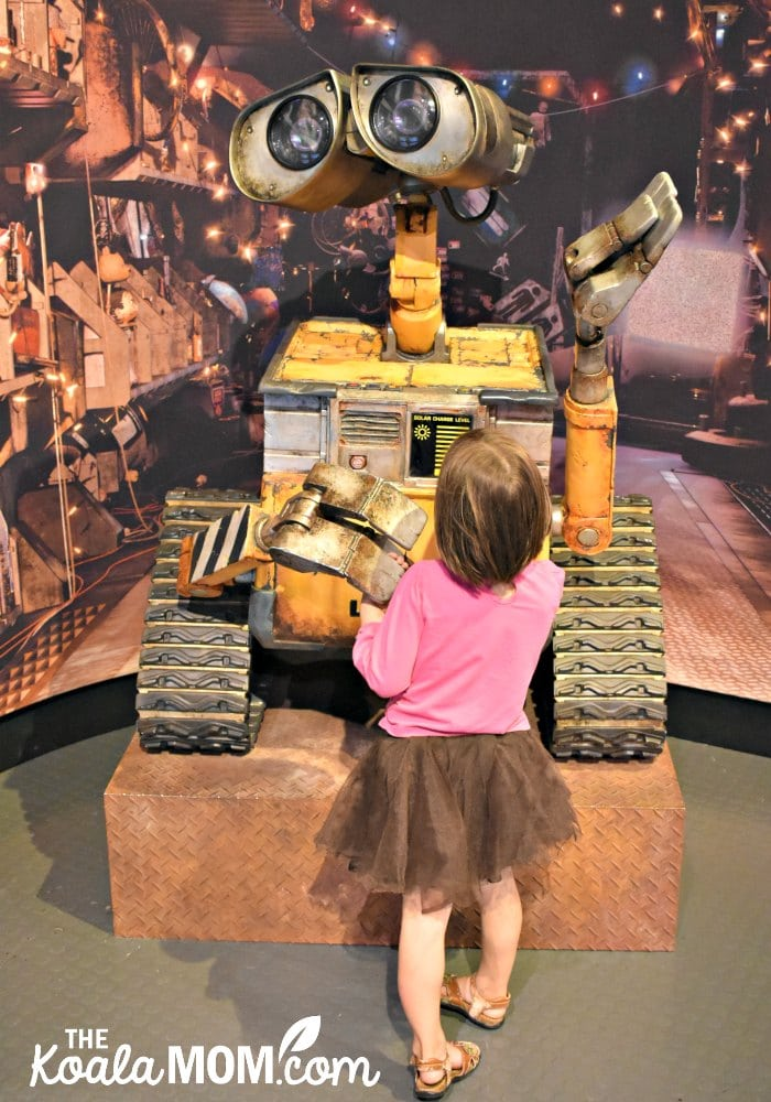 Jade meets Wall-E at the Pixar Exhibition at the Telus World of Science.