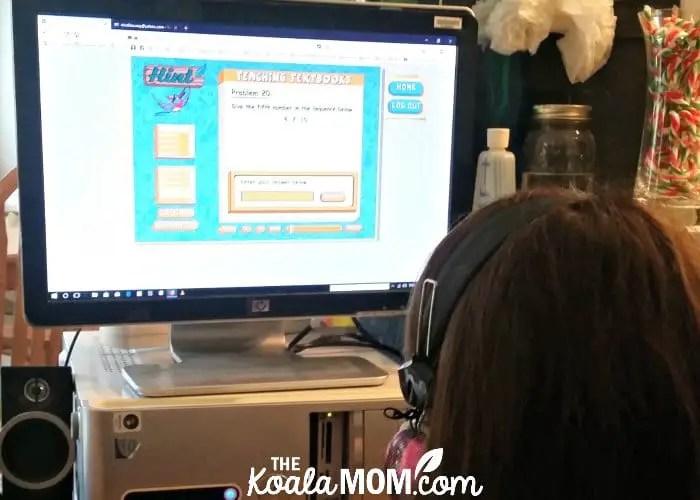 Sunshine doing her Teaching Textbooks 3.0 homeschool math curriculum
