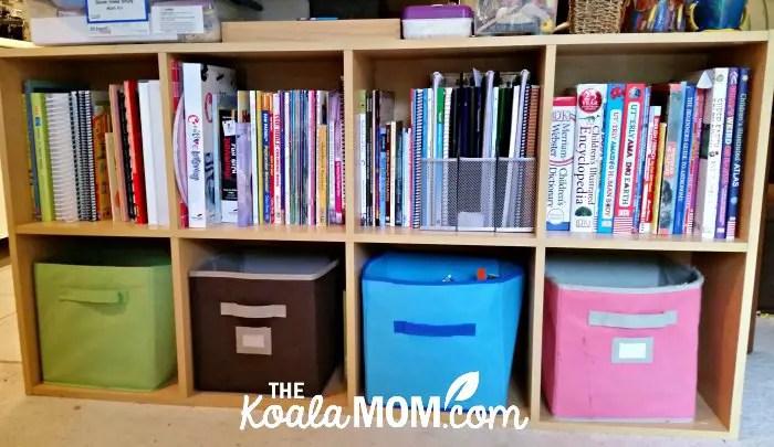 Our organized homeschool shelves.