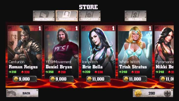 The WWE store allows you to buy new fighters and abilities on the fly.