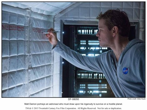 Matt Damon portrays an astronaut who must draw upon his ingenuity to survive on a hostile planet.