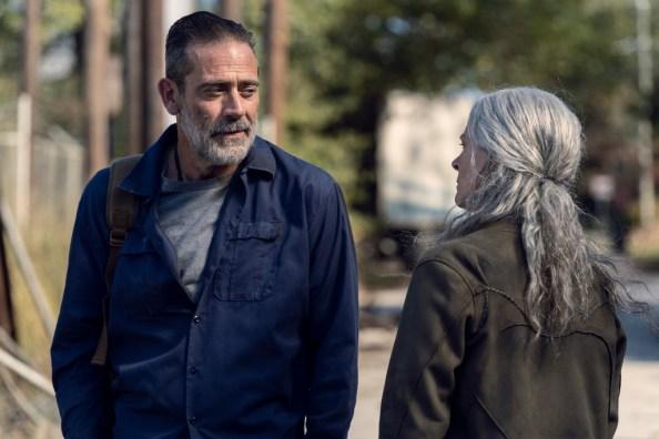 Jeffrey Dean Morgan as Negan, Melissa McBride as Carol Peletier - The Walking Dead _ Season 10 - Photo Credit: Josh Stringer/AMC