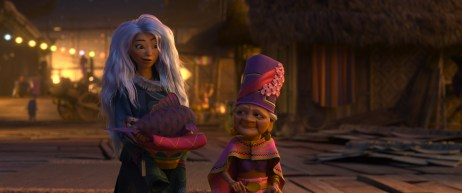"""In the dangerous floating market of Talon, Dang Hu offers safety to a curious Sisu. Featuring Awkwafina as the voice of Sisu and Lucille Soong as the voice of Dang Hu, Walt Disney Animation Studios' """"Raya and the Last Dragon"""" will be in theaters and on Disney+ with Premier Access on March 5, 2021. © 2021 Disney. All Rights Reserved"""