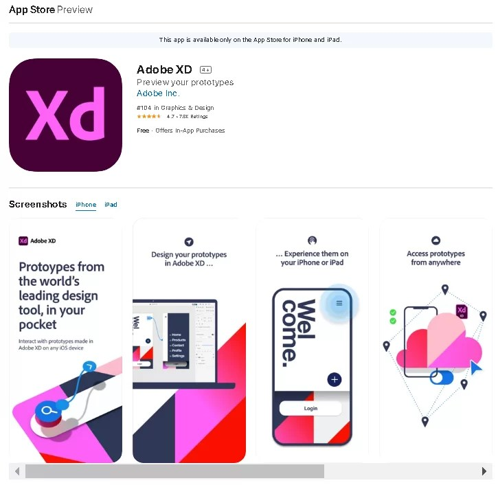 Adobe XD for Android iOS