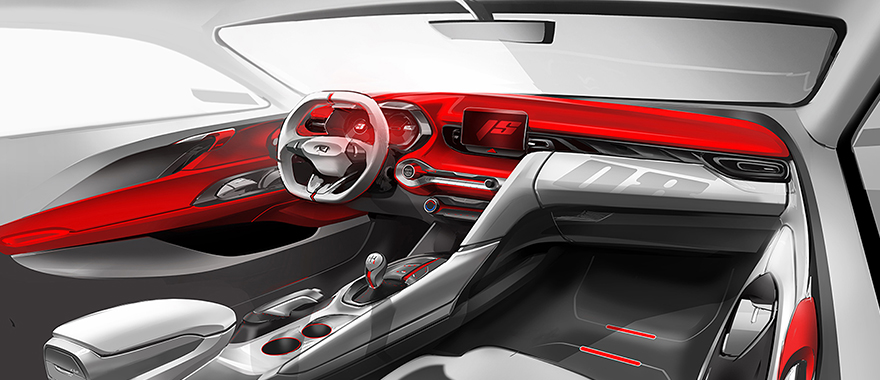 Hyundai Veloster interior rendered