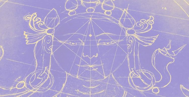 Drawing of Hindu goddess Tara displaying geometric lines that form the sacred geometry of the image.