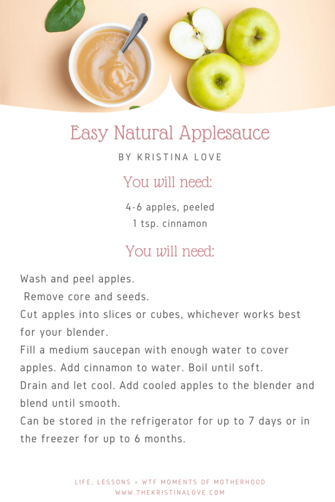 Easy baby food recipes. Easy natural applesauce.